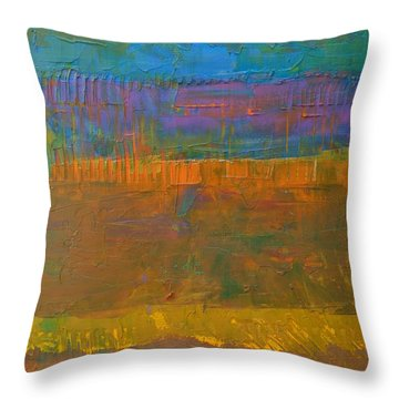 Throw Pillow featuring the painting Color Collage One by Michelle Calkins