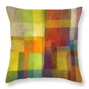 Throw Pillow featuring the painting Color Collage With Green And Red 2.0 by Michelle Calkins