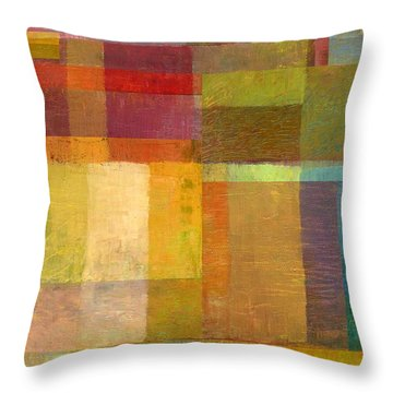 Throw Pillow featuring the painting Color Collage With Green And Red by Michelle Calkins