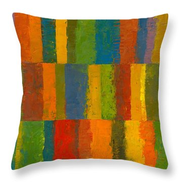 Throw Pillow featuring the painting Color Collage With Stripes by Michelle Calkins