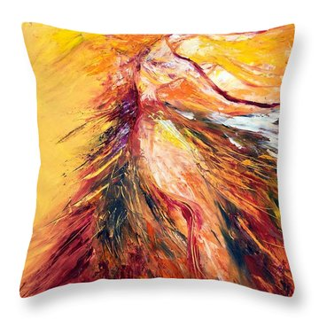 Throw Pillow featuring the painting Color Dance by Marat Essex
