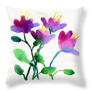 Color Flowers Throw Pillow