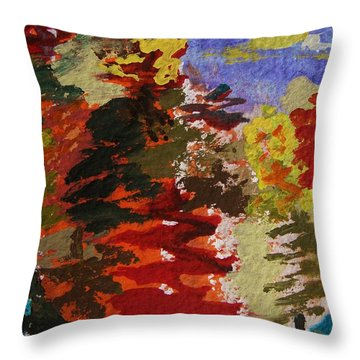 Color Forest Throw Pillow by Mary Carol Williams