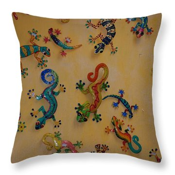Throw Pillow featuring the photograph Color Lizards On The Wall by Rob Hans