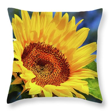 Color Me Happy Sunflower Throw Pillow by Christina Rollo
