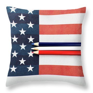 Throw Pillow featuring the photograph Color Me Red White And Blue by Rebecca Cozart