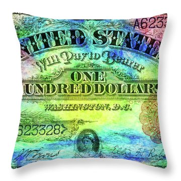 Color Of Money Throw Pillow