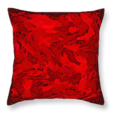Color Of Red Vi II Contemporary Digital Art Throw Pillow