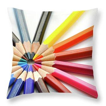 Color Pencils Throw Pillow