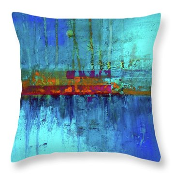 Throw Pillow featuring the painting Color Pond by Nancy Merkle
