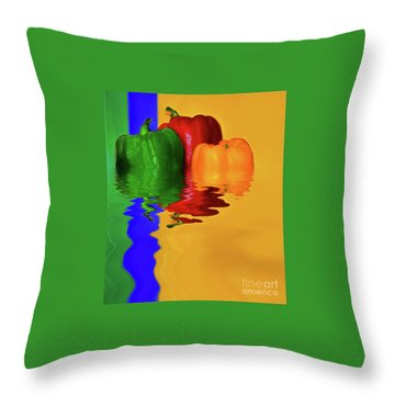 Throw Pillow featuring the photograph Color Pop Peppers By Kaye Menner by Kaye Menner