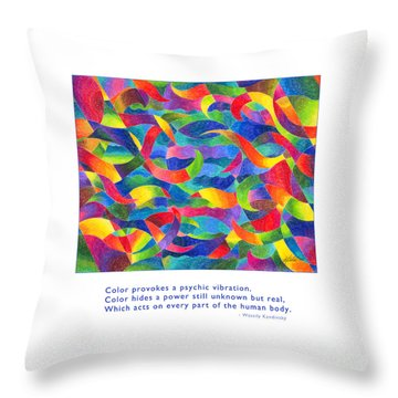 Throw Pillow featuring the drawing Color Provokes Psychic Vibration by Kristen Fox