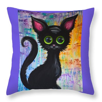 Color Rain And A Cat Throw Pillow