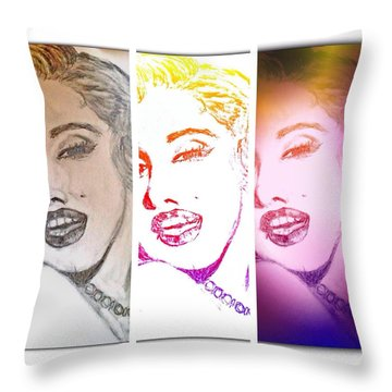 Color Rendition Of Marilyn Monroe #3 Throw Pillow