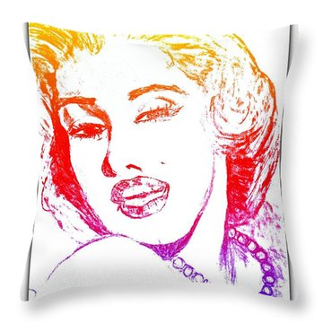 Color Rendition Of Marilyn Monroe Throw Pillow