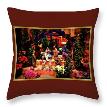 Color Vibe Nativity - Border Throw Pillow