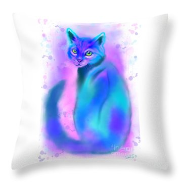 Throw Pillow featuring the painting Color Wash Cat by Nick Gustafson