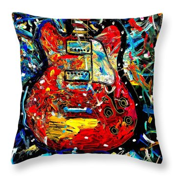 Color Wheel Guitar Throw Pillow