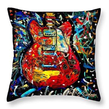 Color Wheel Guitar Throw Pillow