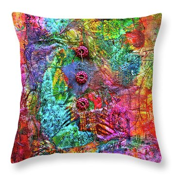 Color With Buttons Throw Pillow