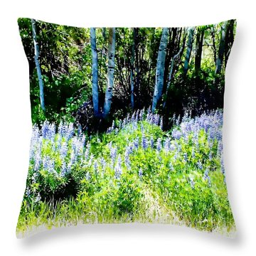 Colorado Apens And Flowers Throw Pillow