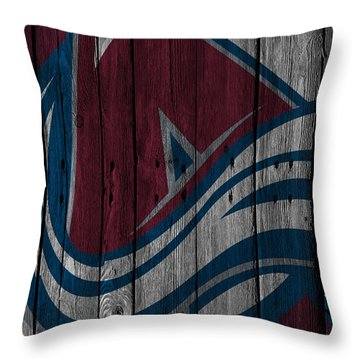 Colorado Avalanche Wood Fence Throw Pillow