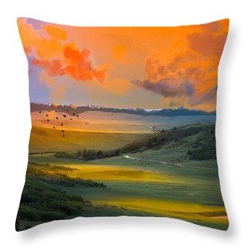 Colorado Big Valley Sunrise Throw Pillow