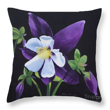 Colorado Blue Columbine Throw Pillow