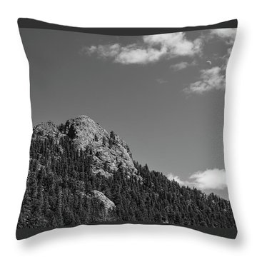 Colorado Buffalo Rock With Waxing Crescent Moon In Bw Throw Pillow by James BO Insogna