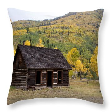 Colorado Cabin Throw Pillow by Marty Koch
