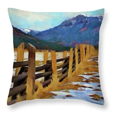Colorado Fence Line  Throw Pillow by Jeff Kolker