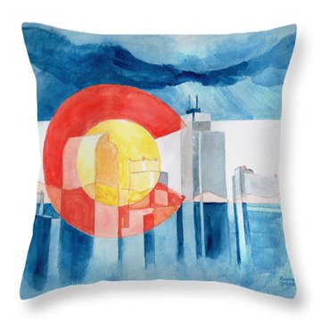 Throw Pillow featuring the painting Colorado Flag by Andrew Gillette