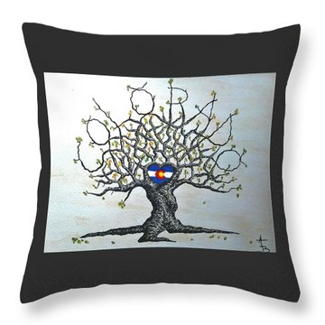 Throw Pillow featuring the drawing Colorado Flag Love Tree by Aaron Bombalicki