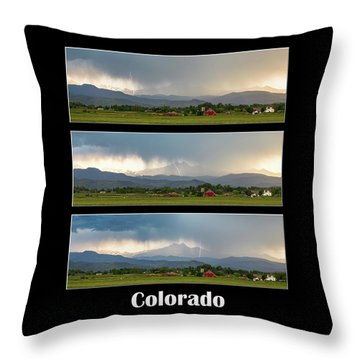 Throw Pillow featuring the photograph Colorado Front Range Longs Peak Lightning And Rain Poster by James BO Insogna
