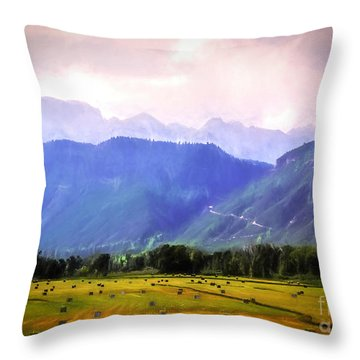 Colorado Harvest Watercolor  Throw Pillow
