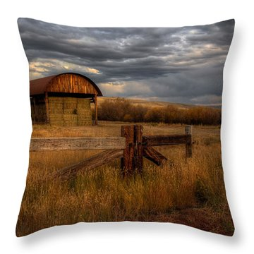 Colorado Hay Barn Throw Pillow