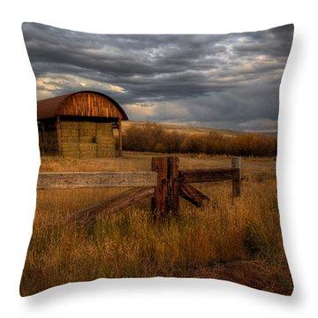 Colorado Hay Barn Throw Pillow
