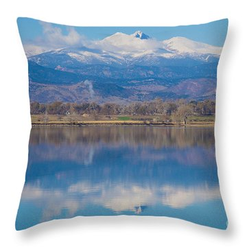Colorado Longs Peak Circling Clouds Reflection Throw Pillow