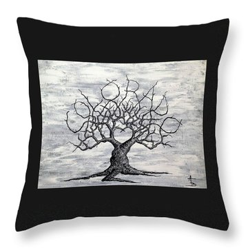 Throw Pillow featuring the drawing Colorado Love Tree Blk/wht by Aaron Bombalicki