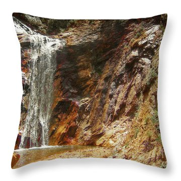 Throw Pillow featuring the photograph Colorado Red Rock Waterfall by Andrea Hazel Ihlefeld
