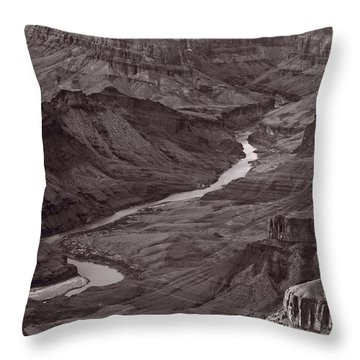 Colorado River At Desert View Grand Canyon Throw Pillow by Steve Gadomski
