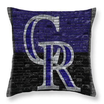 Colorado Rockies Brick Wall Throw Pillow