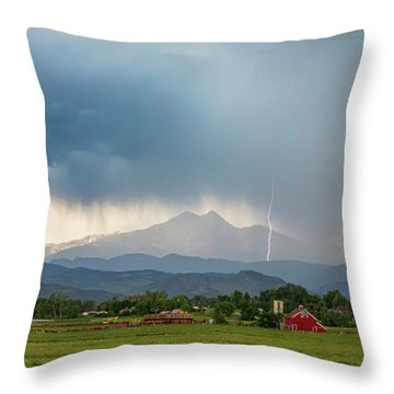 Throw Pillow featuring the photograph Colorado Rocky Mountain Red Barn Country Storm by James BO Insogna