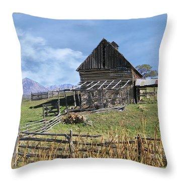 Colorado Rocky Mountain Vintage Barn   Throw Pillow