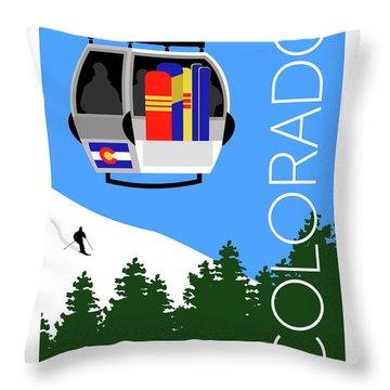 Colorado Ski Country Blue Throw Pillow