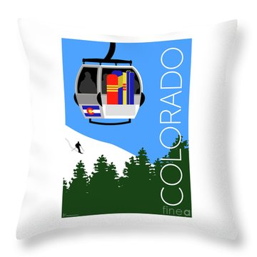 Colorado Ski Country Blue Throw Pillow