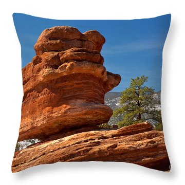 Throw Pillow featuring the photograph Colorado Springs Balanced Rock by Adam Jewell