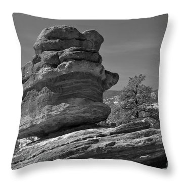 Throw Pillow featuring the photograph Colorado Springs Balanced Rock Black And White by Adam Jewell