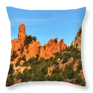 Throw Pillow featuring the photograph Colorado Springs Garden Of The Gods High Point Panorama by Adam Jewell