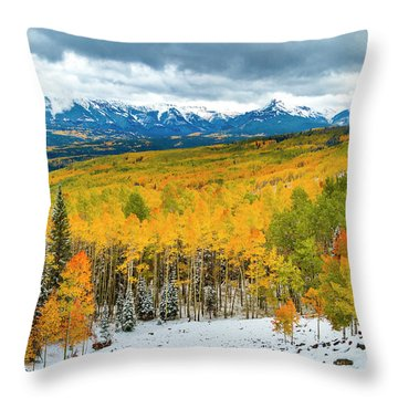 Colorado Valley Of Autumn Color Throw Pillow by Teri Virbickis